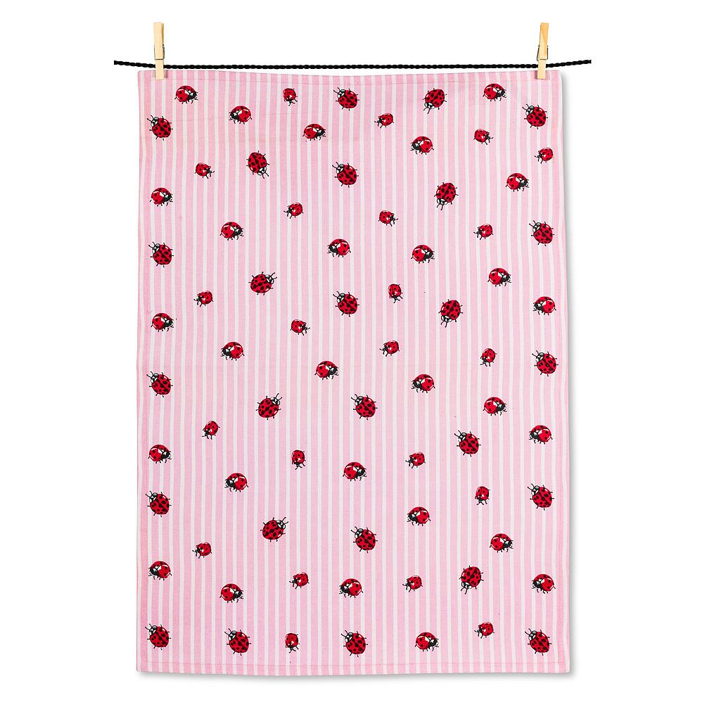 Ladybugs on Stripes Tea Towel